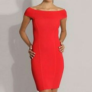 Reiss Dresses & Skirts - SALE Red Otto Sexy Off Shoulder Bodycon Dress