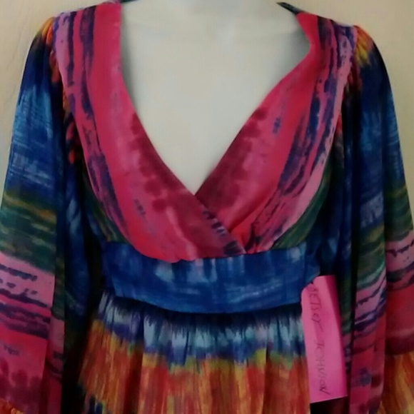 Betsey Johnson Dresses - Betsey Johnson Rainbow boho Kimono bell slv Dress