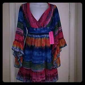 Betsey Johnson Rainbow boho Kimono bell slv Dress