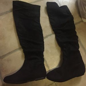 Shoes - SALEEEE!!!--Black suede knee high boots