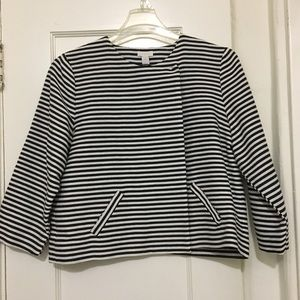 Chico's Jackets & Blazers - Chico black & white striped cropped dinner jacket