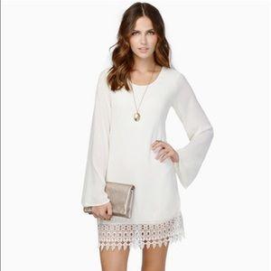 NWT white bell sleeve lace trim boho dress