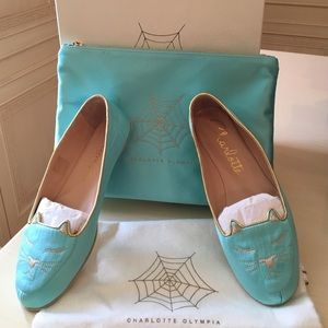 Charlotte Olympia Shoes - Charlotte Olympia Turquoise Silk Satin Cat Nap Set