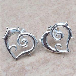 Jewelry - Sterling Silver 925 Open Spike Heart Stud Earrings