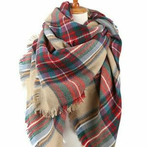 TWO LEFT!!  Oversized Camel Plaid Tartan Scarf