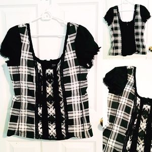 Hot Topic Tops - Black and White Plaid Lace Up Corset