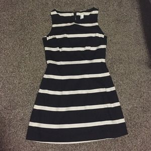 Black and cream A-line dress
