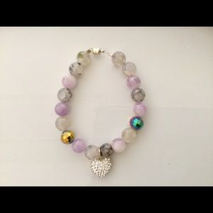Jewelry - Beaded Bracelet with Rhinestone Heart Charm