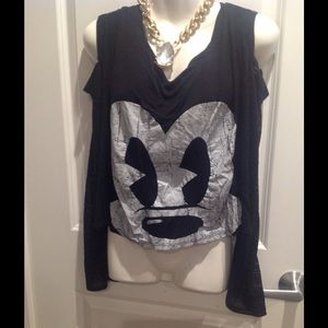 Black/White MiCKeY MouSe L/S Cold Shoulder Top~2X