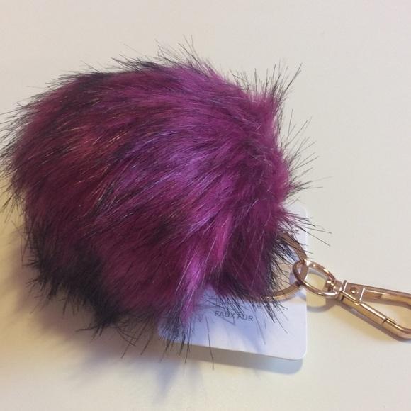 Faux fur key chain - bag charm (magenta) c8d735c6a789a