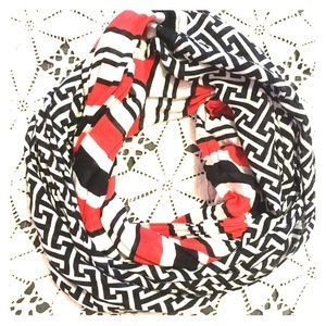 Accessories - Red, black and white 2 tone infinity scarf