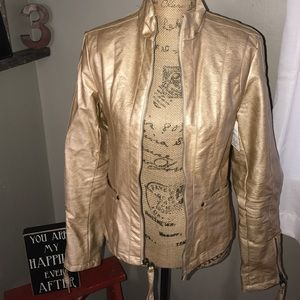Big Chill Jackets & Blazers - Big Chill Faux Leather Moto Jacket Gold med