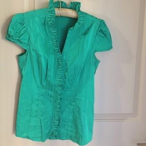 Express striped and ruffled green blouse S