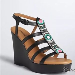torrid Shoes - Beaded Strappy Platform Heels.