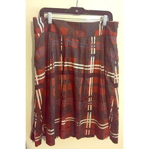 Zara Cotton & Rayon Plaid Skirt