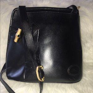 LONGCHAMP BLACK leather logo crossbody bag