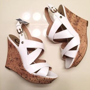 Guess Shoes - NEW white cork wedge heels by Guess women's size 8