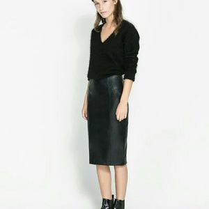 36% off Zara Dresses & Skirts - NWT dark green leather skirt from ...