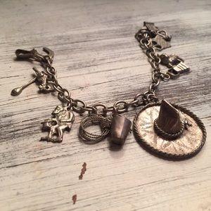 Jewelry - Vintage Cowboy Western Theme Charm Bracelet