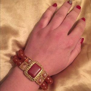 Jewelry - Coral beaded stone bracelet