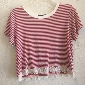Striped crop top with floral trimming