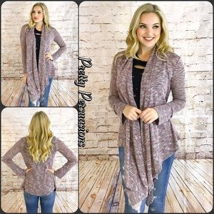 Pretty Persuasions Sweaters - NWT Open Front Draped Marled Knit Cardigan