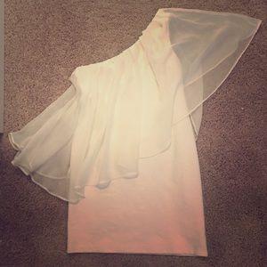 White one-shoulder mini dress