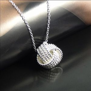 Jewelry - 925 Silver Sterling Plated Necklace Roseball