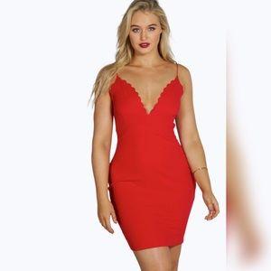 Plus Aine Scallop Edge Midi Dress
