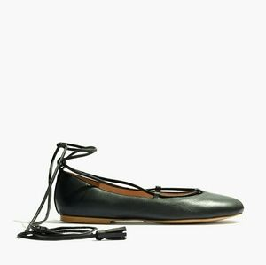 Madewell Shoes - Madewell Inga Black Leather Lace Up Ballet Flats