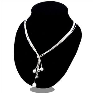 Jewelry - 5 beads 925 Sterling Silver Plated Necklace