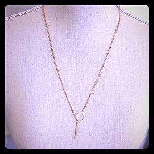 Rose Gold Circle & Bar Necklace