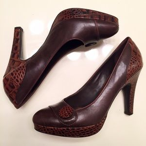 BCBGirls Shoes - Brown leather heels, snake skin pattern size 8.5