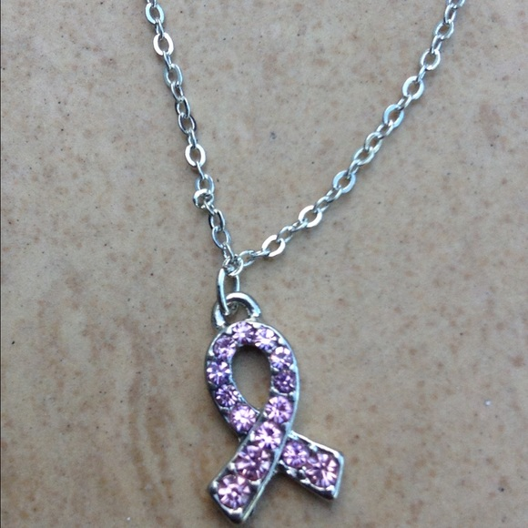 Jewelry - Silver Tone Pink Breast Cancer Ribbon Anklet Ankle