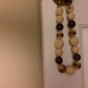 Wooden and knit bead necklace!