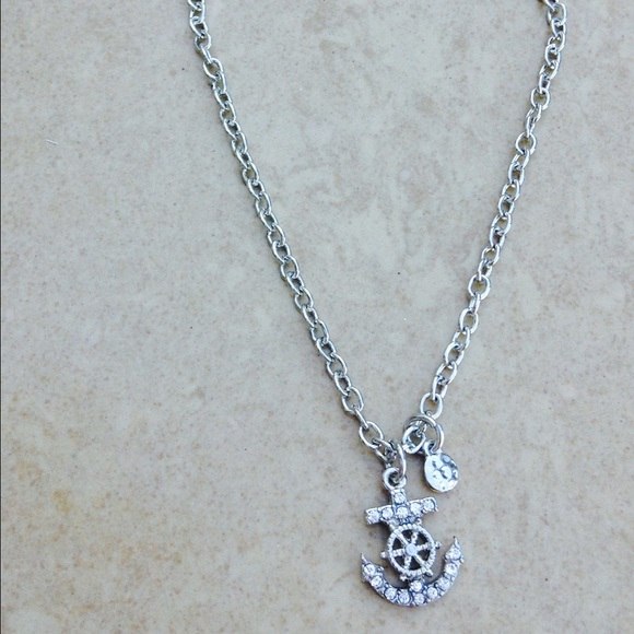 Jewelry - Silver Tone Crystal Anchor Charm Anklet Ankle
