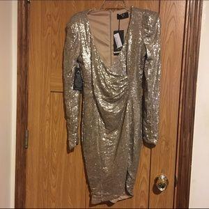 AX Paris Curve Dresses & Skirts - Sequin tan party dress
