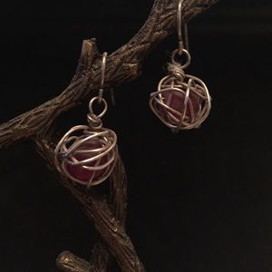 Sterling silver earrings with recycled glass beads