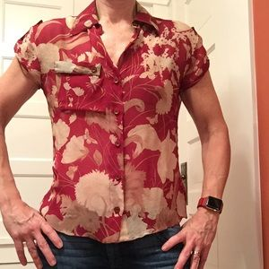 Red floral silk blouse