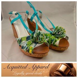 NWT Lane Bryant Wide Width Wedge Strap heels