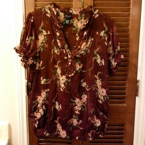 EUC Sheer Floral Blouse