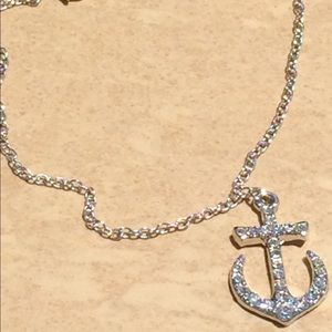 Jewelry - Silver Tone Crystal Nautical Anchor Anklet Ankle