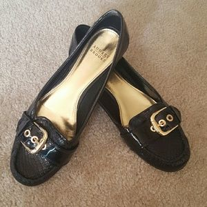 Audrey Brooke Shoes - Black Patent Leather w/Gold Buckle Loafers
