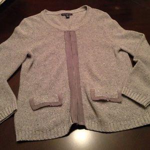 Banana Republic Sweaters - Banana Republic Grey Cardigan with sparkle.size L