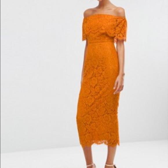 048999bd4a ASOS Dresses   Skirts - Asos orange lace off shoulder dress size 2