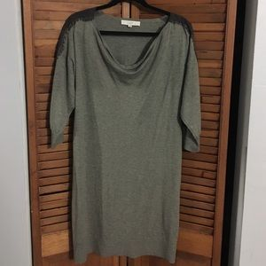 Loft Brown Sweater Dress with Lace Detail