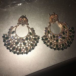 Gorgeous Bollywood style green earrings