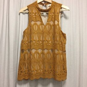 Tops - Mustard Lace Blouse