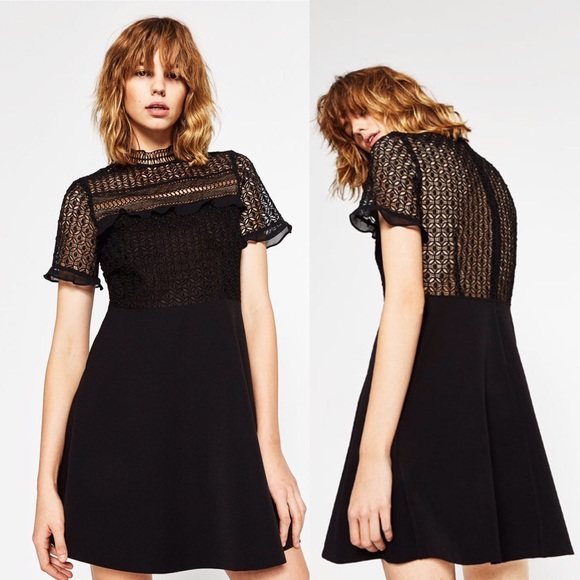 Zara Dresses Last One Lace Dress With Frilled Sleeves Poshmark