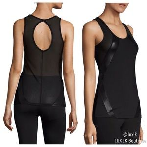 Electric Yoga Tops - LAST 2 // Black Mesh & Leather Captain Top